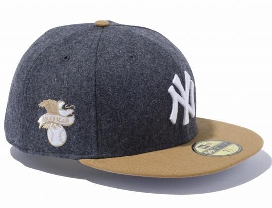 7a4eb1c5248096 New York Yankees Melton Wool Dark Grey/Wheat 59Fifty Fitted Cap by NEW ERA  x MLB