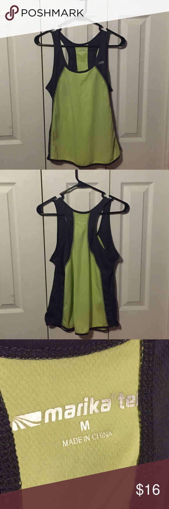 Marika Green and Gray Tank Top Marika Green and Gray Tank Top: Made in China; green and gray athletic tank top; breathable material; comfortable for sports or for free time; hardly worn!! Marika Tops Tank Tops