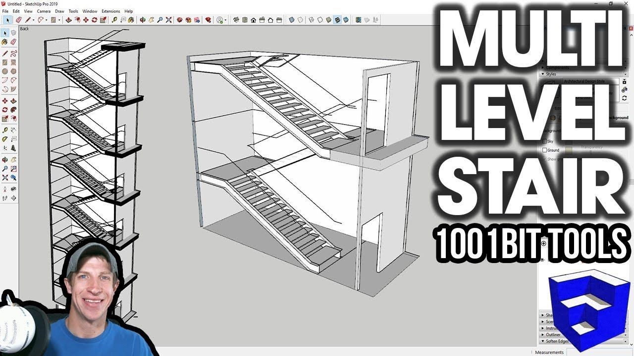 Modeling Multi Level Stairs In Sketchup With 1001bit Tools The Sketchup Essentials Sketchup Free Tutorial Sketchup Model
