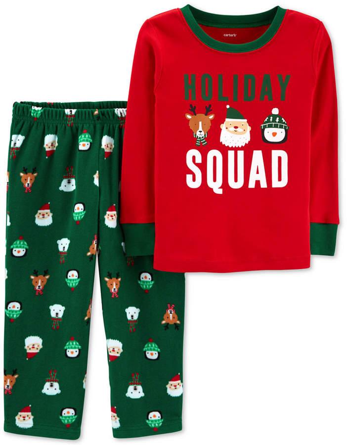 6acec367469c Carter s Toddler Boys 2-Pc. Holiday Squad Santa Fleece Pajama Set ...