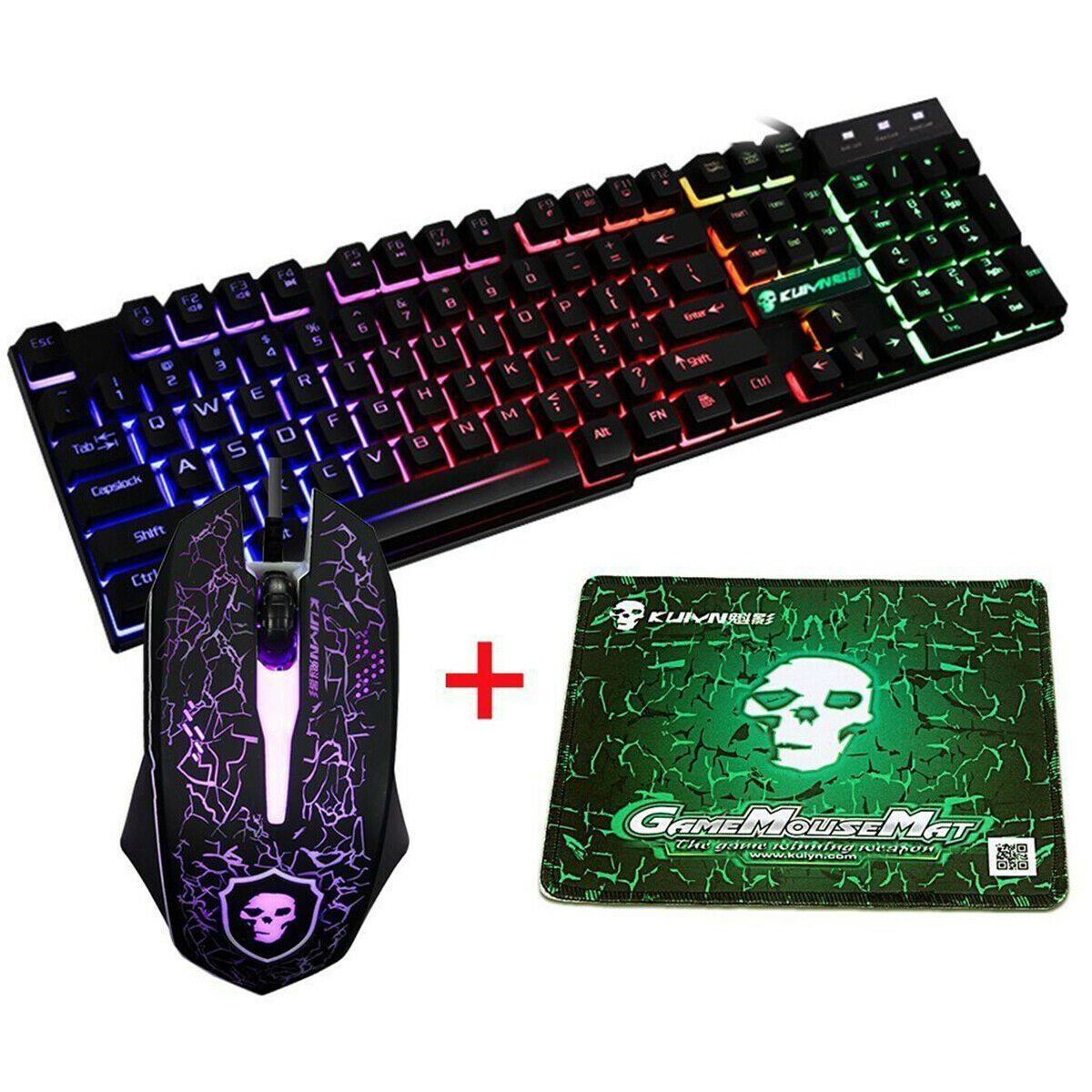 3 colors LED Illuminated Backlight USB Wired Gaming Keyboard WITH LED MOUSE MG