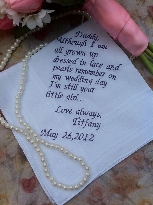 father of the bride handkerchiefs cute note from bride to her father