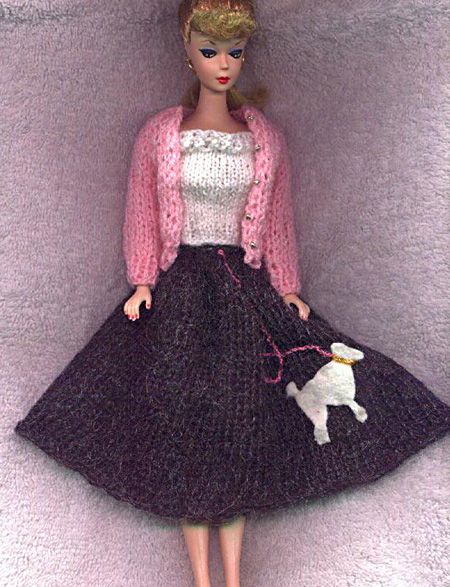 Barbie Knitted poodle skirt doll pattern. (pattern is just the skirt) Barbi...