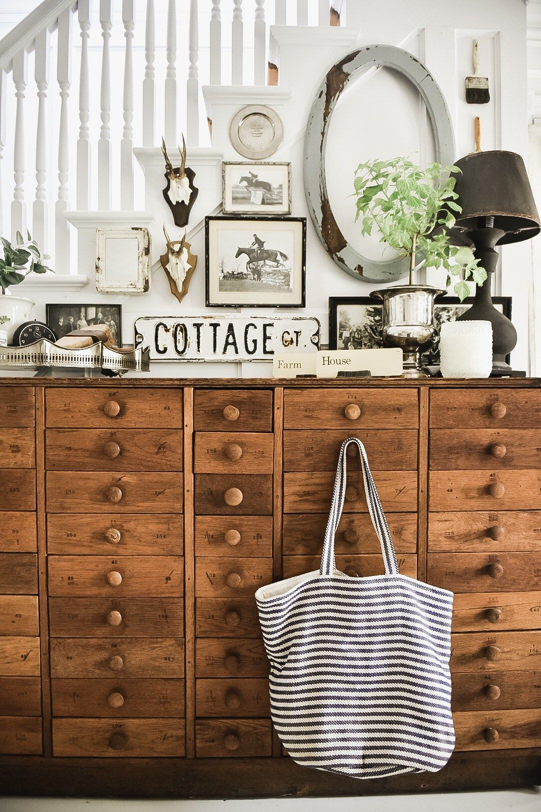 Liz Marie Has Redesigned Her Farmhouse Entryway Again. The Look Is A  Mixture Of Unique Vintage Finds, Check Out How It Turned Out.