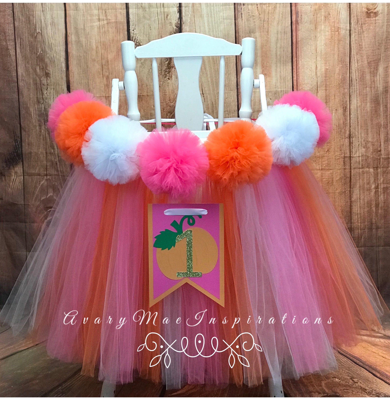 Fall Cake Smash High Chair Tutu Pumpkin First Birthday Decorations Little Pumpkin 1st Birthday Backdrop ONE High Chair Skirt