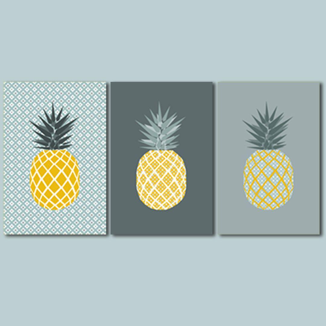 3 affiches ananas avec motif g om trique tendance for Ananas deco maison