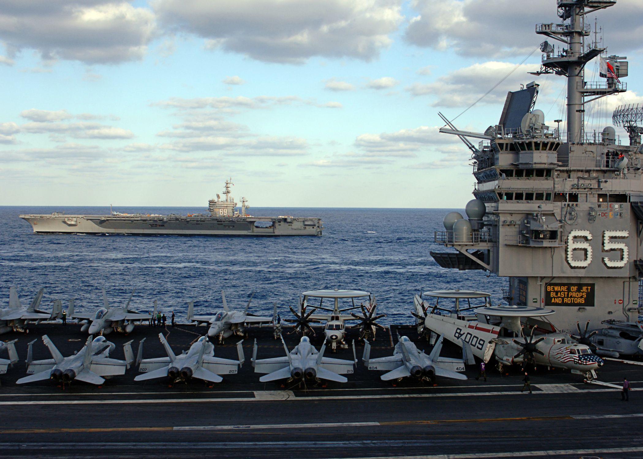 USS Enterprise (CVN-65) alongside USS Dwight D. Eisenhower (CVN-69) November 2005.....v1/ fly3 aboard!