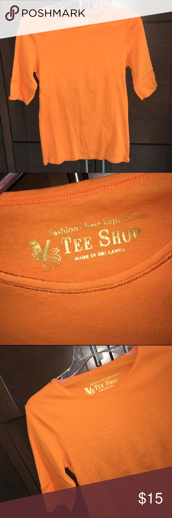 """NEW orange tee! Elbow sleeves, 100% cotton. BRAND NEW NEVER WORN, no tags bec ordered by mail. 24"""" long. Gorgeous orange color. Victoria's Secret Tops Tees - Long Sleeve"""