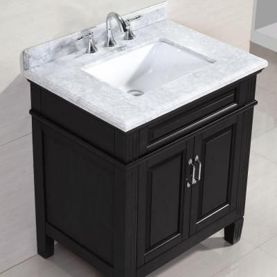 Blaine 30 In Vanity In Black With Marble Vanity Top In Carrara
