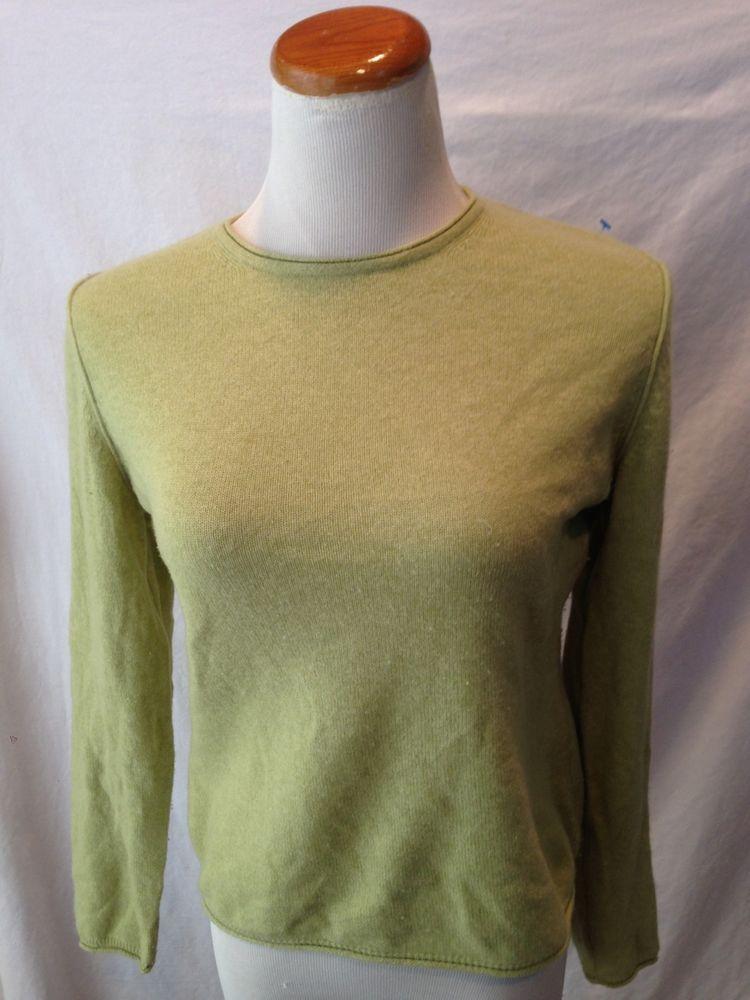 Classic #cashmere  LL BEAN L.L. BEAN green 100% CASHMERE crewneck sweater Small S #LLBean #Crewneck