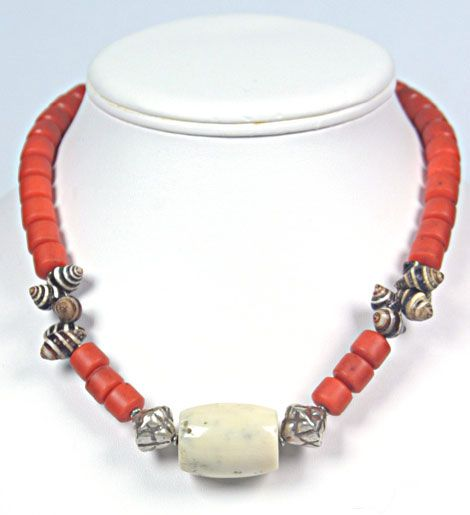 Zebra Shells from Morocco necklace