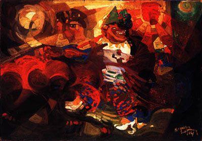 Fortunato Depero, Ritmi di ballerina + clowns (lato 1), 1914