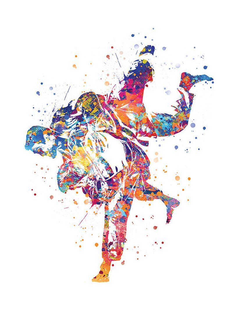 Judo Drawing Judokas Art Sports Illustration Print Art Watercolor Combat Sport Bedroom Wall Decoration Father S Day Sports Art Print Sport Illustration Sports Art