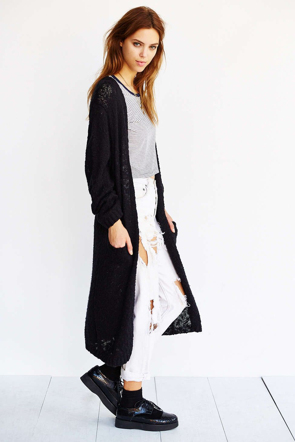 maxi cardigan   ripped white jeans   stripes = best fall staple ...