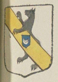Michel CLABAT, Escuier, Sieur de la Gallonière. Porte : d'argent, à un loup rempant de sable, entravaillé ou passant sa patte senestre sur une bande d'or, brochante le tout, chargée en cœur d'un écusson d'azur, surachargée d'un croissant d'argent   N° 113