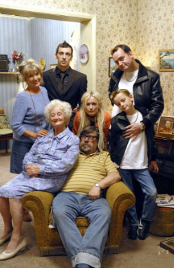 English TV inspo: Royal Family  Again showing the difference in generations, to the difference in outfits. Daisy should be in older 80s/70s/60s vintage outifts and accessories.   Marcus and Claire should be far more modern.   The kids are the 90s.  Jack and Phil, vintage but grubby, holes and stains on clothes.