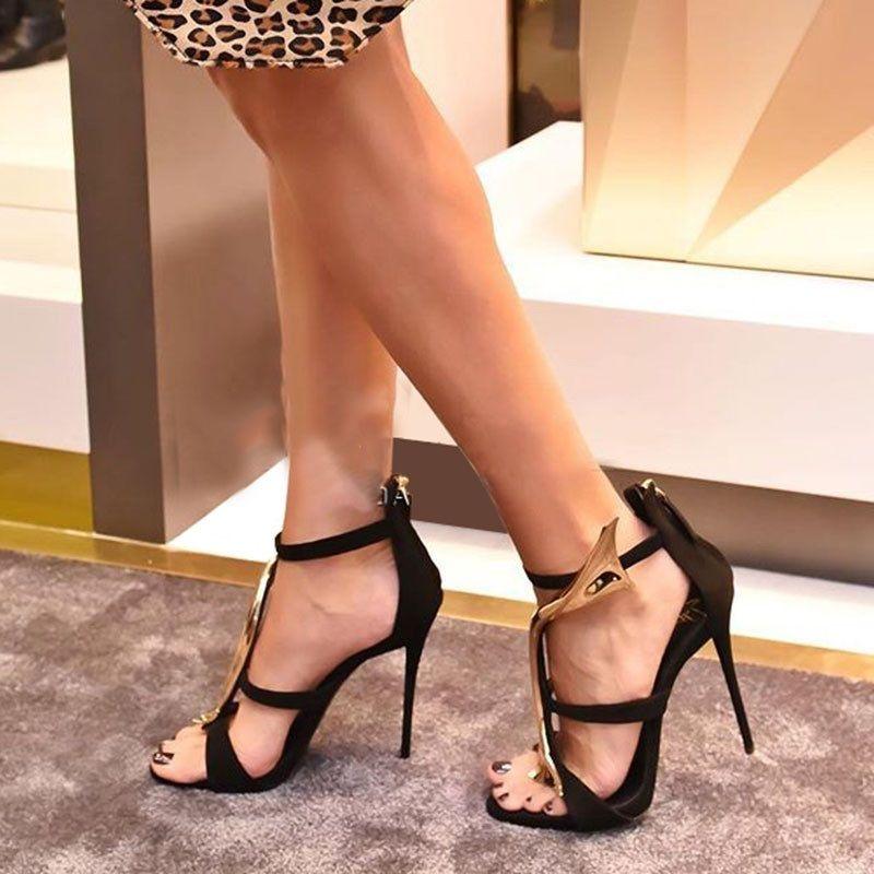 Sandals Faux Suede Zipper Open Toe Stilettos|Embellishment