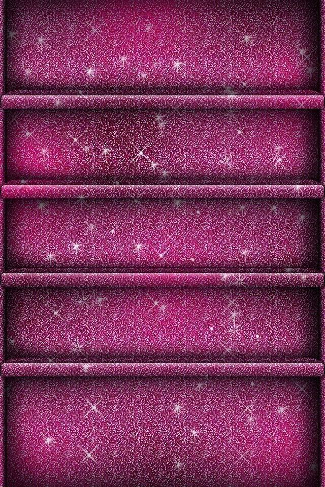 Pink purple glitter shelf style iPhone iPod wallpaper background