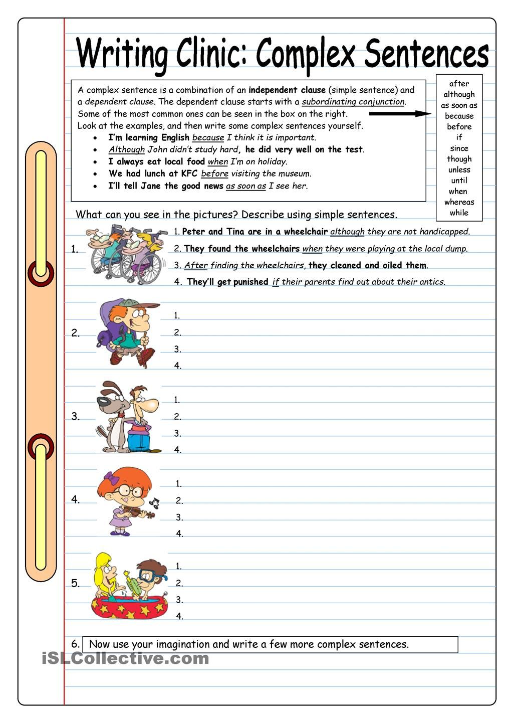 Writing Clinic: Complex Sentences worksheet - Free ESL printable worksheets  made by teachers