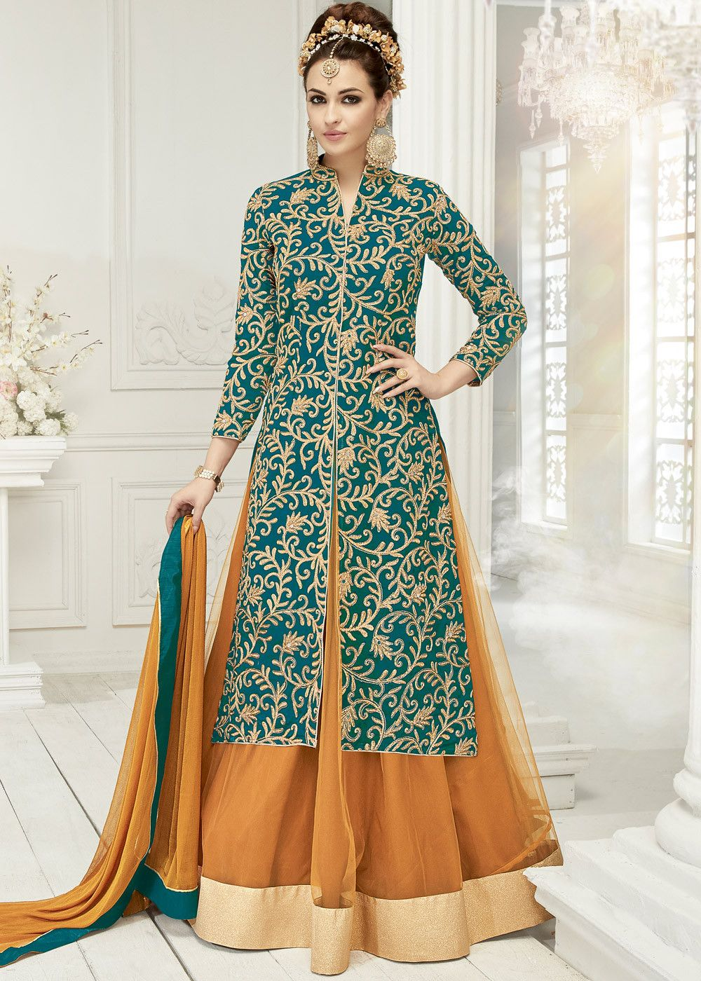 Look marvellous in this #green #georgette #kurti style front slit ...
