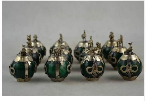 52$  Watch here - 12PCS Old Decorated Handwork Green Jade Ball Chinese 12 Zodiac Animal Statue Tibet Silver decoration brass factory outlets   #aliexpressideas