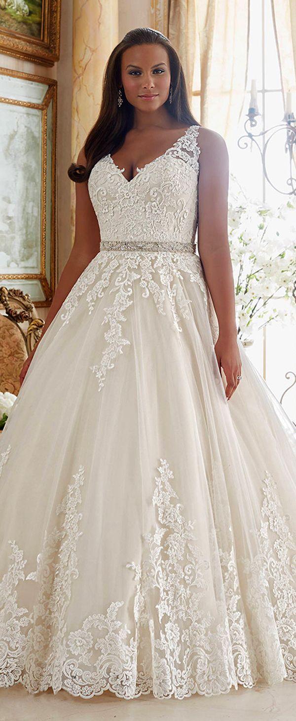 Graceful tulle vneck neckline ball gown plus size wedding dresses