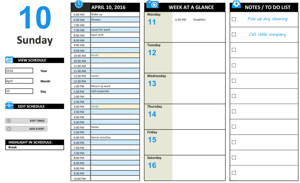 daily work schedule template excel charts pinterest templates