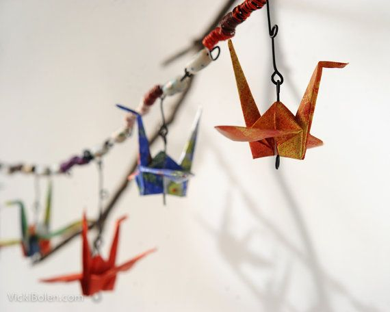 Photo of Items similar to Boho outdoor patio decor| Outdoor decorations for decks| Outdoor garden decor ideas| Patio and garden art decor| Tyvek origami crane chain on Etsy