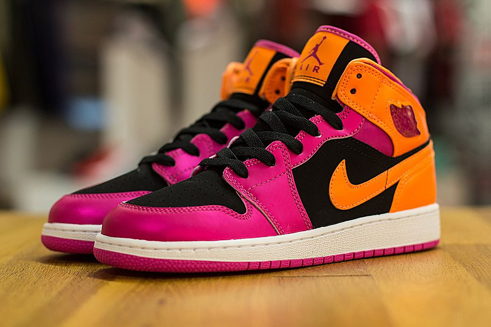 Air Jordan 1 Mid GS | Black, Fusion Pink & Bright Citrus · Jordans  SneakersNike ...