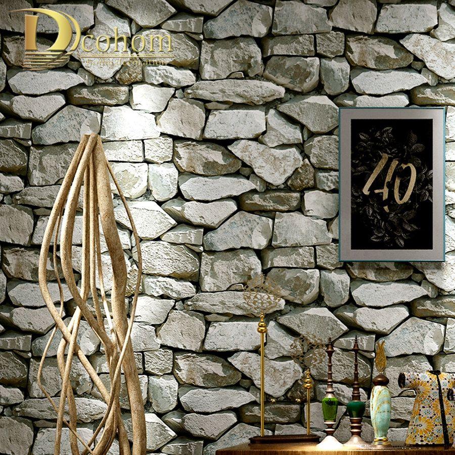 Vintage Stone Brick Wall Texture Waterproof 3D Vinyl Wall Paper Rolls Home Decor