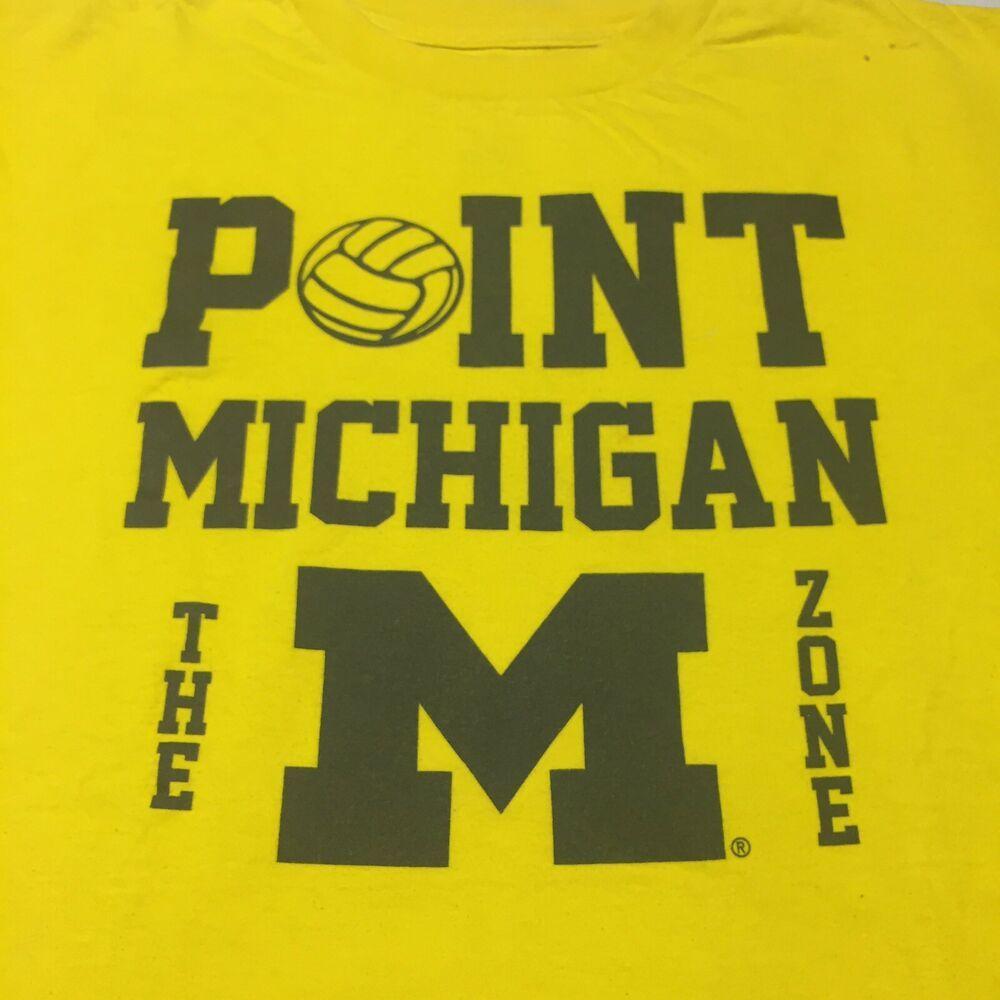 Point Michigan Medium Yellow T Shirt Volleyball Adidas Wolverines Big Ten Maize Yellow T Shirt Michigan Wolverines
