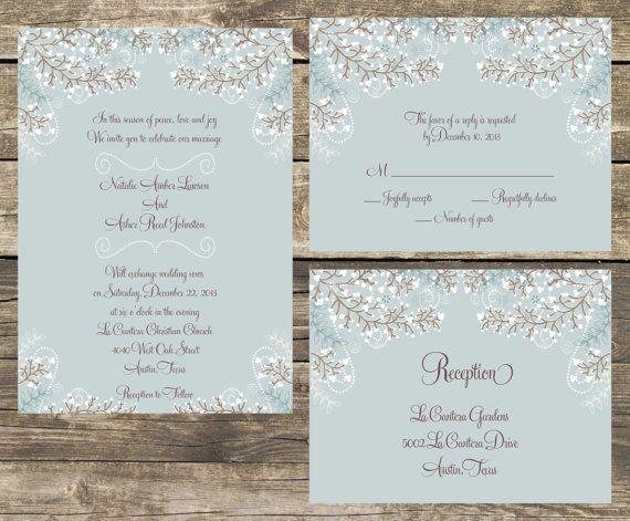 Winter Wedding Invitation Wording: PRINTABLE Wedding Invitation Suite DIY