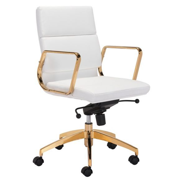Modern Adjustable Office Chair White Gold Zm Home In 2020 Adjustable Office Chair Leather Office Chair Gold Office Chair