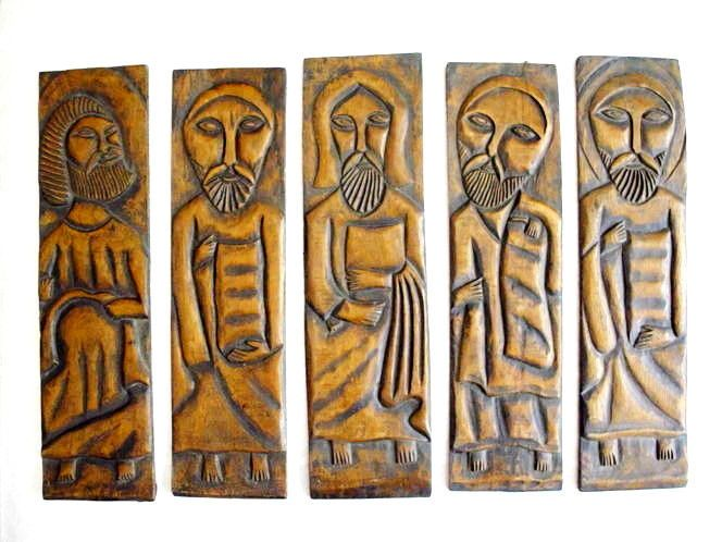 Vintage or Antique Wood Carving Jesus Apostles Folk Art Christian Icon Church | eBay