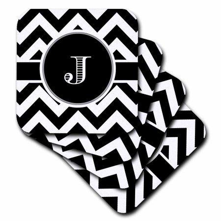 3dRose Black and white chevron monogram initial J, Ceramic Tile Coasters, set of 4