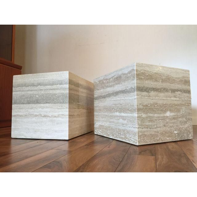 Image Of Travertine Marble Cube Side Tables