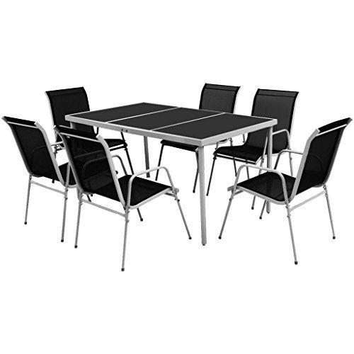 vidaXL Salle à Manger d\u0027Extérieur 7 pcs Noir Mobilier de Jardin