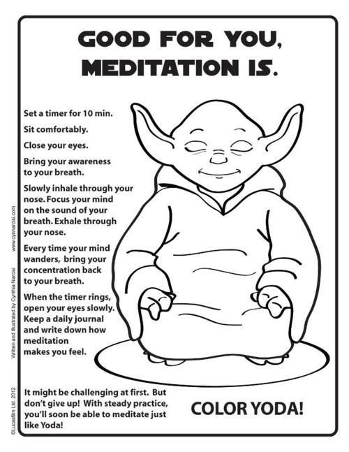 Yoda meditation coloring page | Mindfulness for kids, Yoga ...