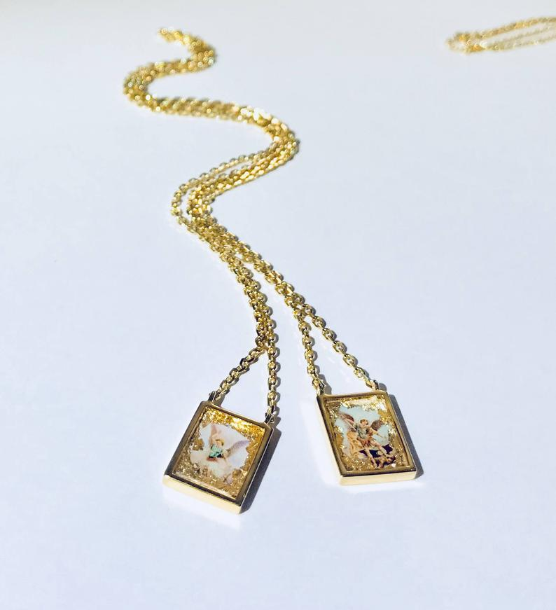 One Meaning S Iconic Love Scapular Necklace Guardian Angel Archangel Michael Saint Michael Saint Miguel Scapular Necklace Scapular Beautiful Necklaces