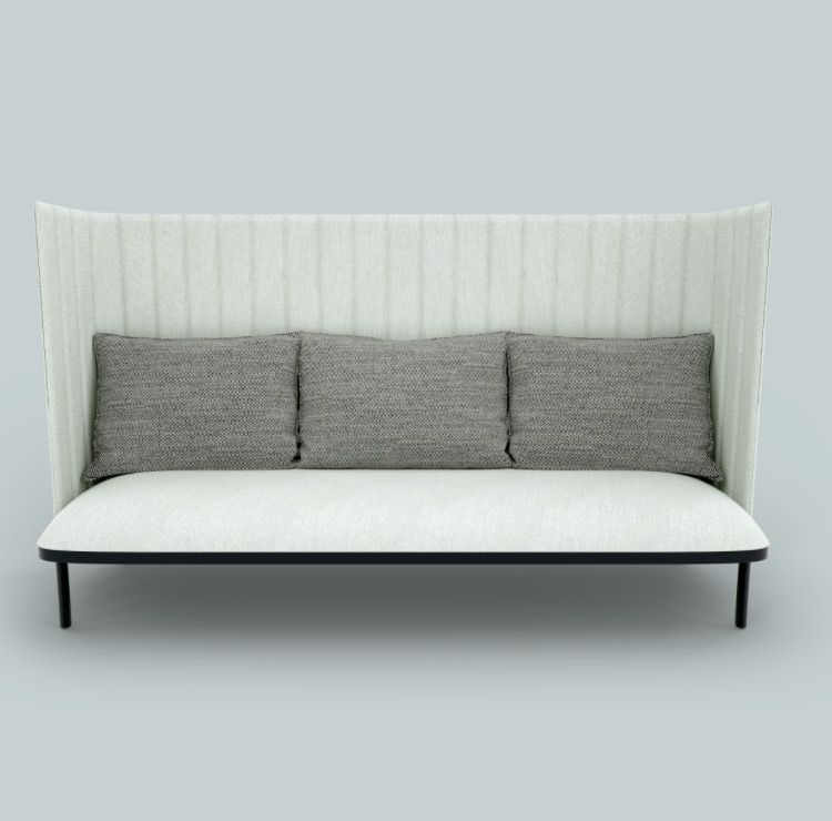 Ophelis Sum High Back Sofa In White And Grey With Black Legs With Beautiful Linear Upholstery Detail Modular Furniture Modular Furniture System Sofa
