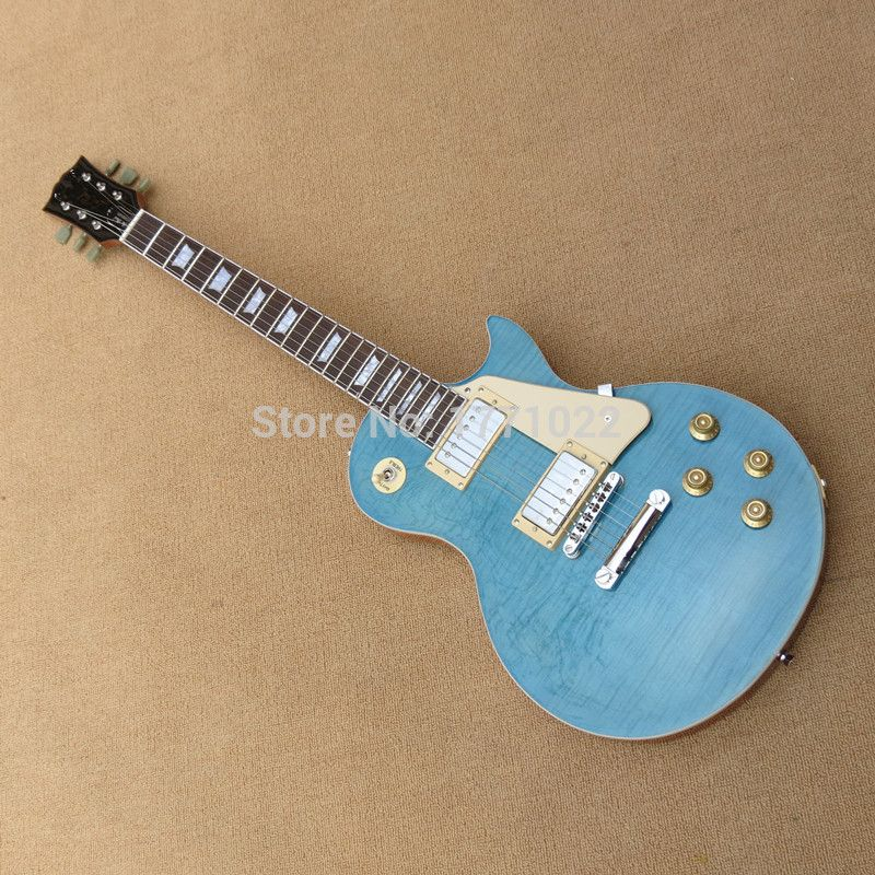 $179.00 (Buy here: http://appdeal.ru/ecgt ) NEW MODEL-Chinese OEM LP Standard Guitar,sky blue color,tiger maple top,Electric Guitar Free shipping for just $179.00