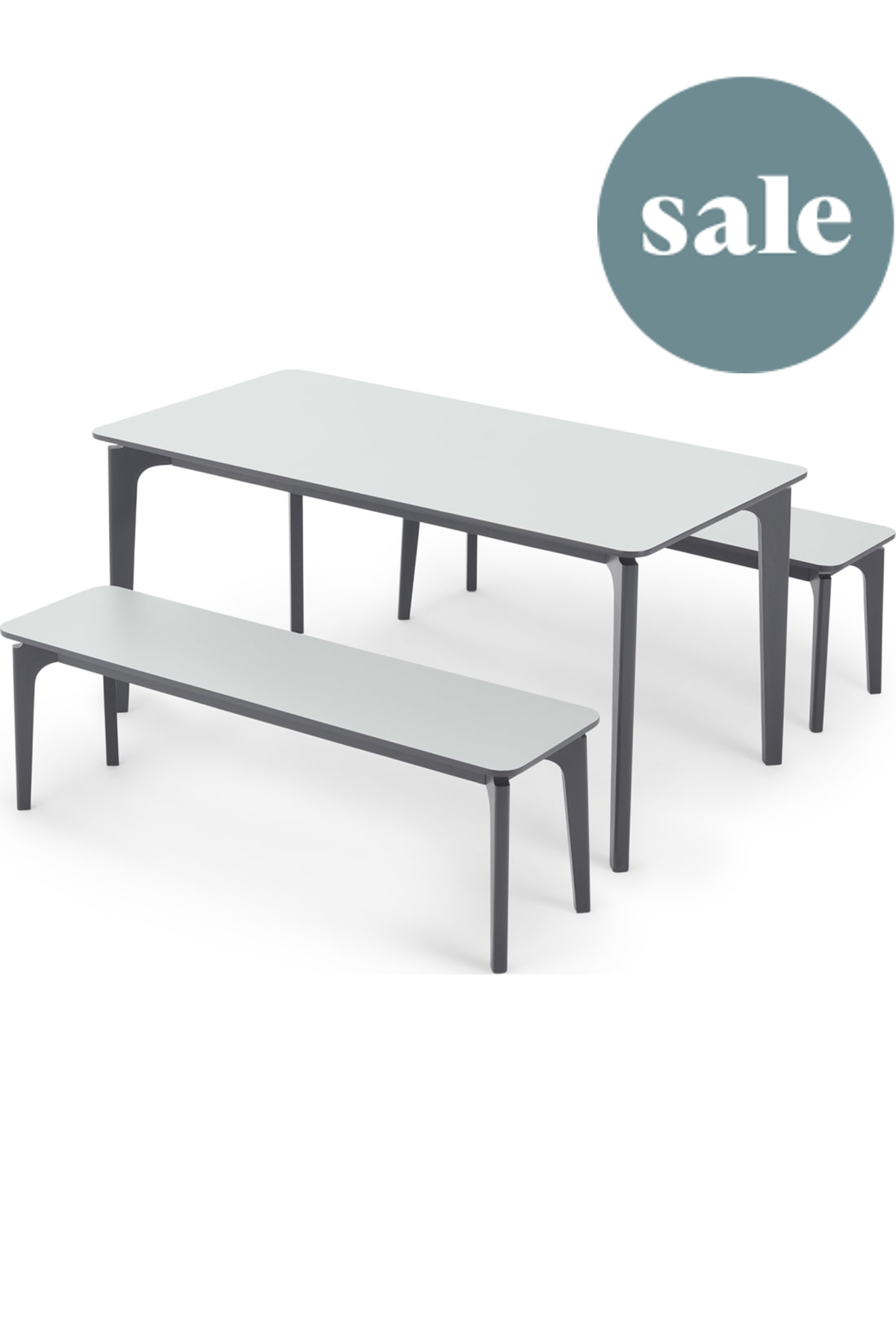 Buren Rectangle Dining Table And 2 Benches Set Hpl And Ash