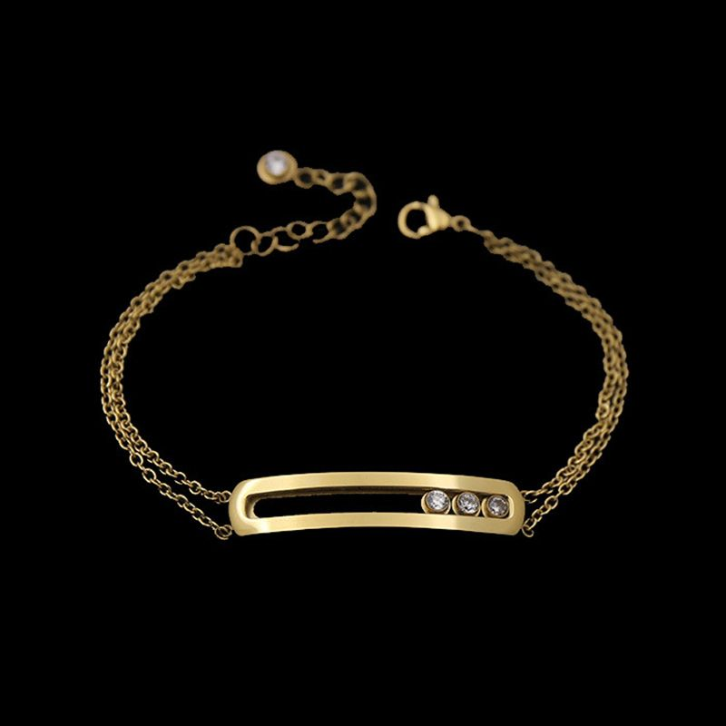>> Click to Buy << Fashion Jewelry Stainless Steel Bangles Three Gold Color Move Crytal CZ Zircon Bracelets For Women And Men(DJ1023) #Affiliate