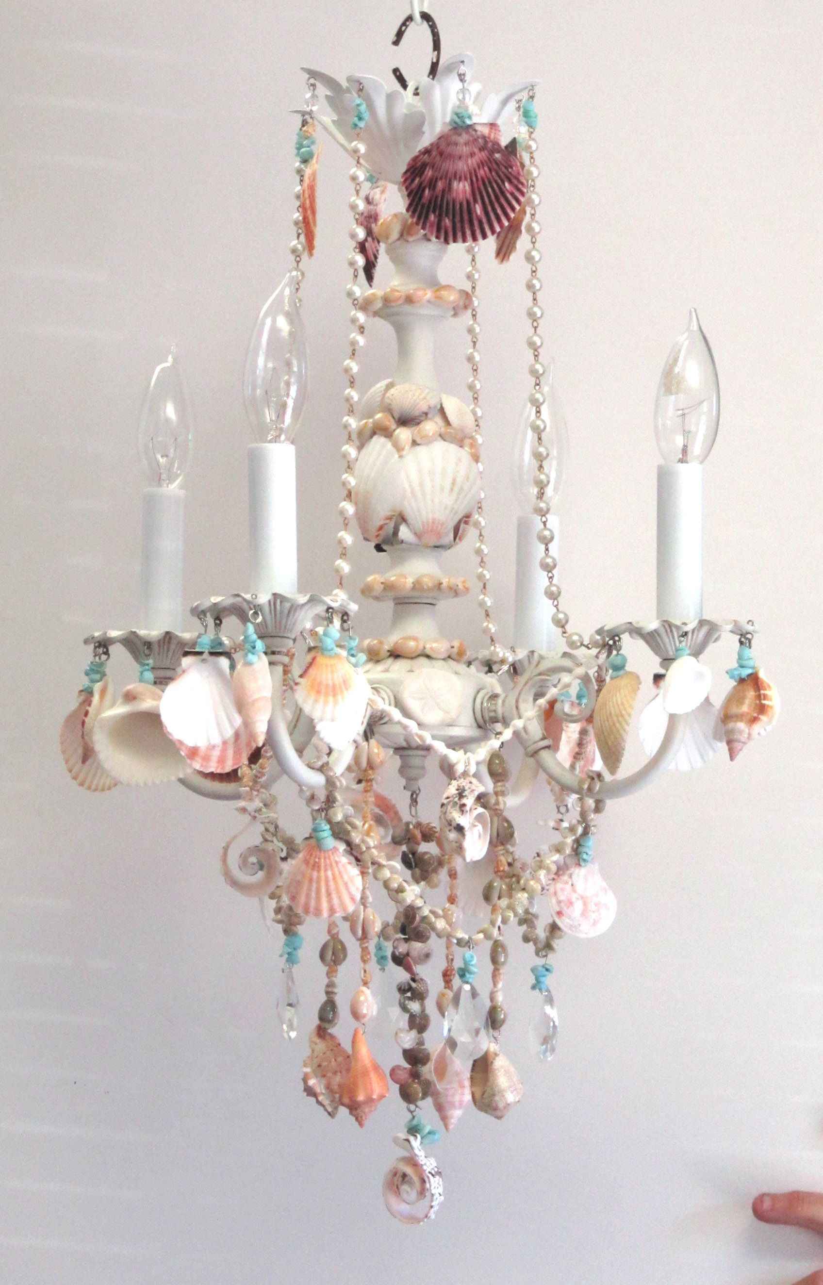 Crystal and shell chandelier embellished witih seashells for Shell diy