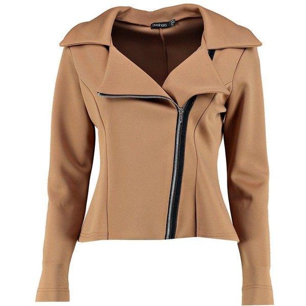 Boohoo Vanessa Fitted Biker Jacket | Boohoo (1.950 RUB) via Polyvore featuring outerwear, jackets, bomber jacket, biker jacket, longline jacket, fitted motorcycle jacket и wrap jacket