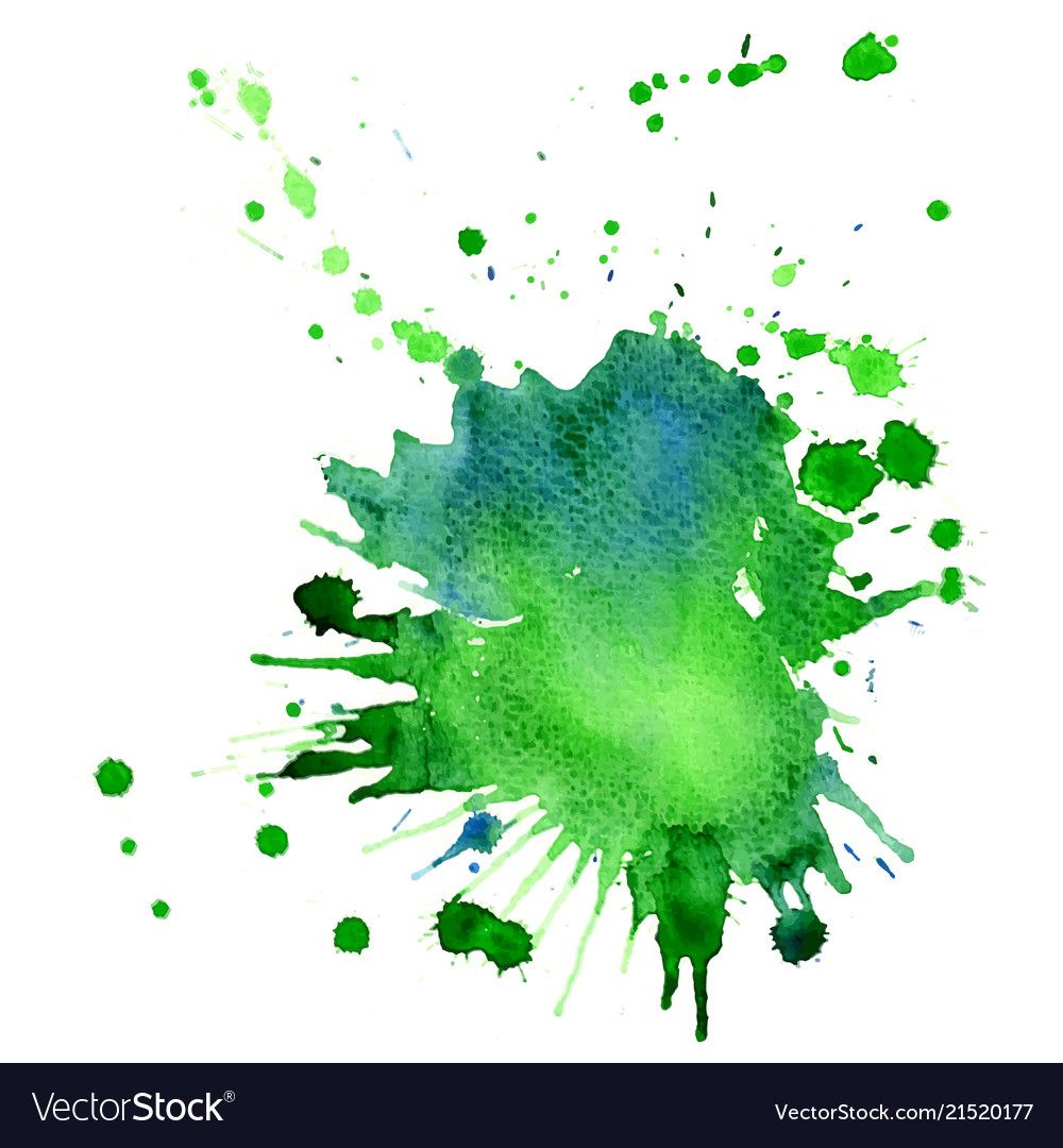 Single Big Green Blue Watercolor Splash Vector Image On