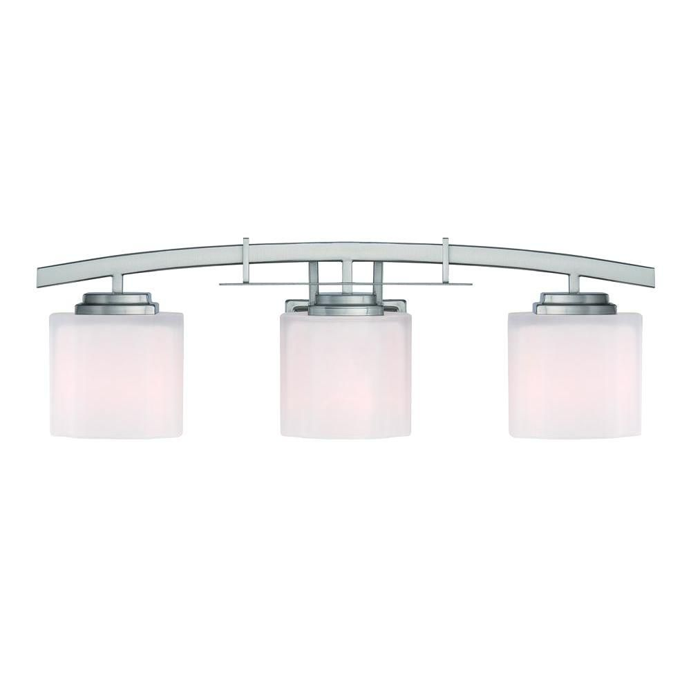 Hampton Bay Architecture 3 Light Brushed Nickel Vanity Light With Etched White Glass Shades 15041 The Home Depot Light Fixtures Bathroom Vanity Vanity Lighting Bathroom Light Fixtures