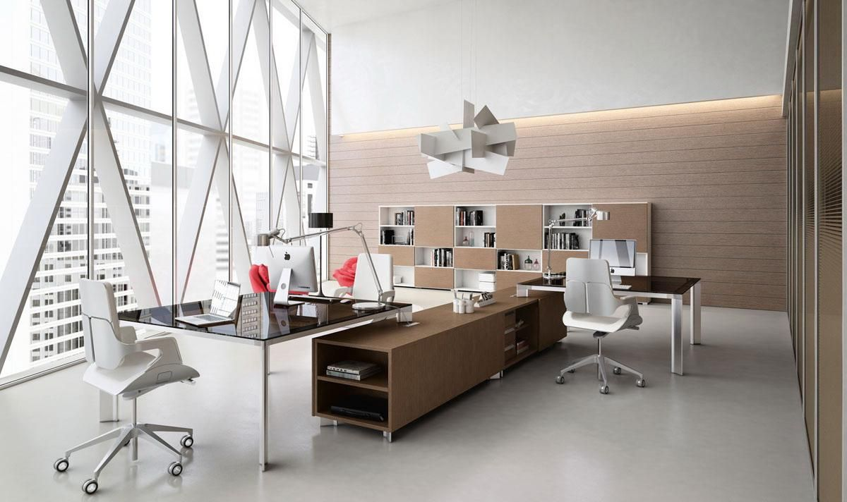 Contemporary Minimalist Office Design With Stylish Office Tables And Chairs  Also Filing Cabinet Decoration Office Décor With Minimalist Style To Create  ...