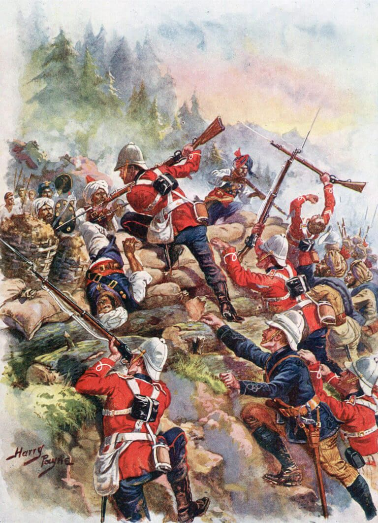 British 8th Regiment storming the Afghan positions at the Battle of Peiwar Kotal on 2nd December 1878 in the Second Afghan War picture by Harry Payne