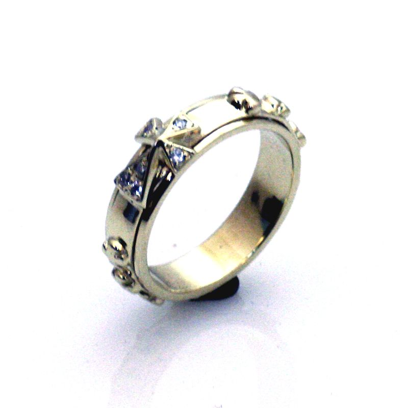 14K Solid Gold Rosary Ring